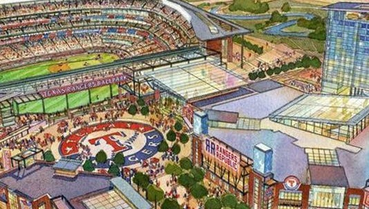 An artist's rendering for a new Texas Rangers ballpark that includes a retractable roof and Texas Live entertainment complex.