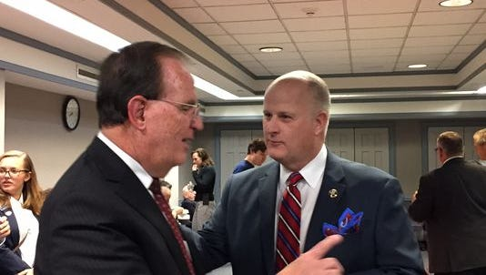 Morris County Sheriff Edward V. Rochford, left, greets GOP Sheriff candidate James Gannon at the Morris County Clerk's Office on Election night, Nov. 8, 2016.