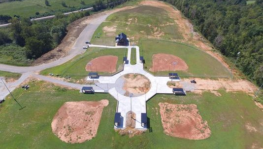 Aerial view of the under-construction Burns ball park.