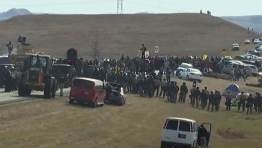 Protesters gather near the construction site of the Dakota Access Pipeline.