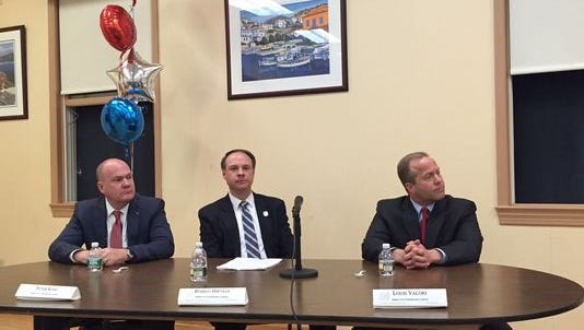 Former Morris County Freeholder candidates, from left, Peter King, Roman Hirniak and Louis Valori, during a campaign debate in April 2016.