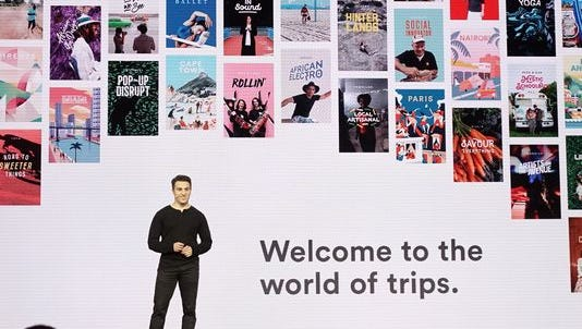 Airbnb co-founder Brian Chesky announing the company's trips program.