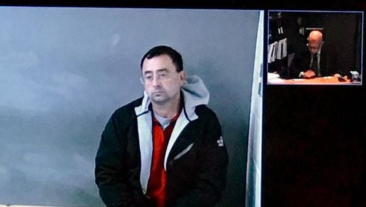 Dr. Larry Nassar during a court appearance via a video link in Michigan.