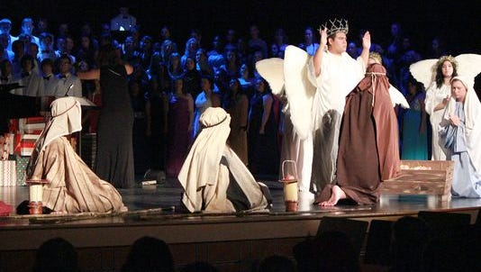 "CASHS Glee Club performs the ""Song of Christmas"" and its live nativity tableau in a past winter concert."