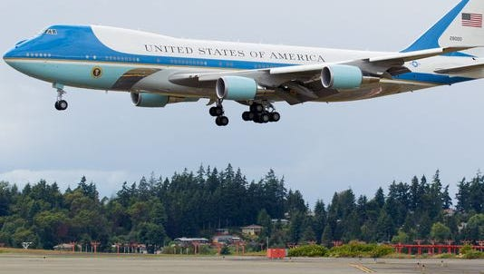 Air Force One, carrying President Barack Obama, lands at Seattle-Tacoma International Airport on June 24, 2016.