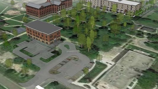 A rendering supplied by TWG Development LLC shows the new housing that could be built at the School for the Blind on the right. Two older buildings will remain.