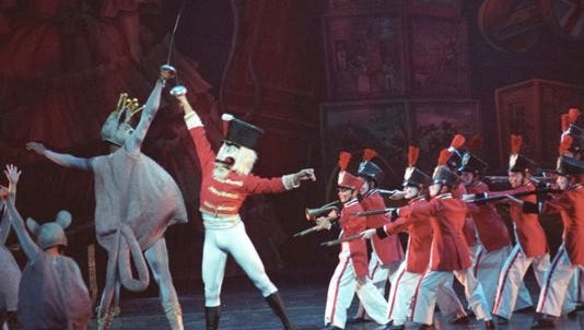 "The toy soldiers, led by the Nutcracker Prince, battle the army of mice in ""The Nutcracker."""