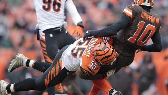 Cincinnati Bengals outside linebacker Vontaze Burfict (55) applies pressure on Cleveland Browns quarterback Robert Griffin III (10) as he throws in the fourth quarter during the Week 14 NFL game between the Cincinnati Bengals and the Cleveland Browns, Sunday, Dec. 11, 2016, at FirstEnergy Stadium in Cleveland. Cincinnati won 23-10.