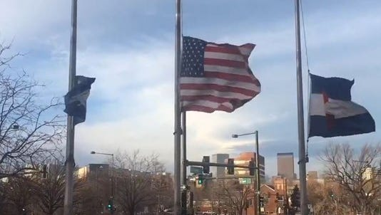 The winds whips outside of the KUSA offices in Denver on Thursday.