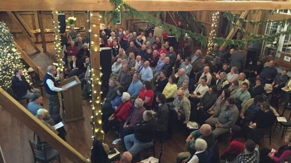 A full house at Wyndridge Farm listens to presenters at the YDR's Retro York evening on Dec. 7.