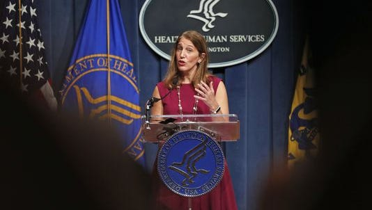Health and Human Services Secretary Sylvia Burwell speaks during a news conference.
