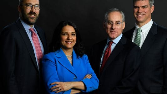 The USA TODAY 2017 Investment Roundtable includes (from left) Gavin Baker, portfolio manager, Fidelity OTC Fund, Fidelity Investments; Rupal Bhansali, chief investment officer, International and Global Equities, Ariel Investments; David Kostin, chief U.S. equity strategist, Goldman Sachs; and Jeff Rottinghaus, portfolio manager, T, Rowe Price Large Cap Core Fund, T. Rowe Price.