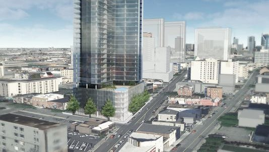 A rendering of the mixed-use project once eyed for the site at the corner of Broadway and 20th Avenue South.