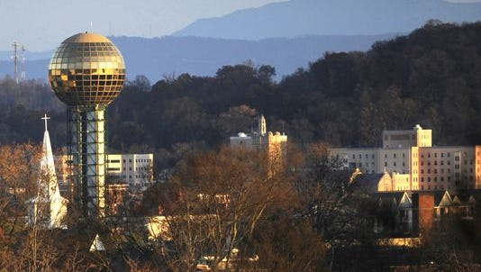 The Sunsphere, with Mount LeConte in the distance, is pictured Wednesday, Nov. 19, 2014.