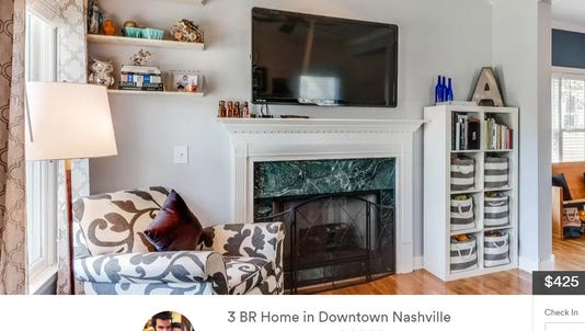 An Airbnb listing for a short-term rental home in Nashville.