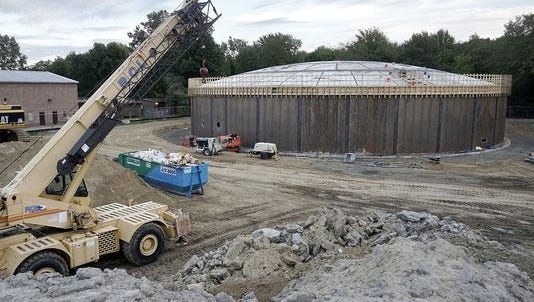 This photo from September shows the water storage facility being built on Canton's north side. Officials hope it will ease water rate hikes.
