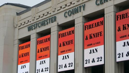 A firearm and knife show event is displayed at the Westchester County Center in White Plains on Dec. 21, 2016.