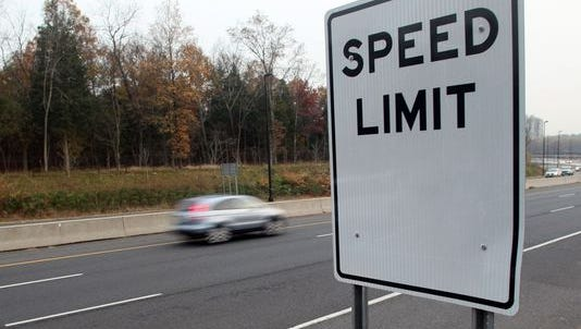 A blank speed limit sign sits along a highway in New Jersey. DelDOT will increase speed limits on Del. 1 near the Dover Air Force Base.