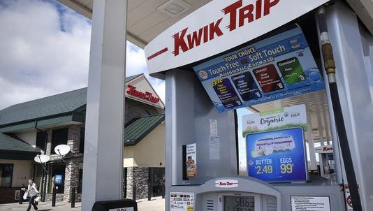 A shopper leave after purchasing items in April 2016 at the Kwik Trip store in Monticello. Kwik Trip is completing an expansion project of eight stores in the St. Cloud area.