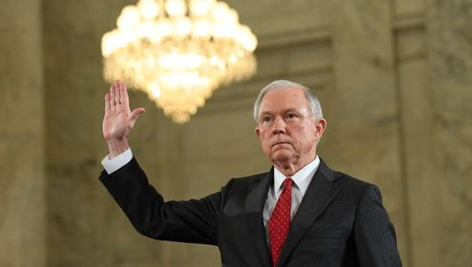 Jeff Sessions, nominee for attorney general, is sworn prior to his opening statement during his confirmation hearing before the Senate Judiciary Committee on Jan. 10, 2017.