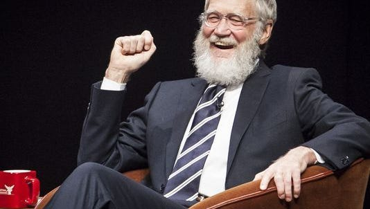 David Letterman laughs during an appearance at Emens Auditorium in November of 2015.