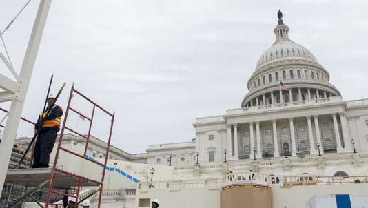 Workers prepare for the Presidential Inauguration on Jan. 20.