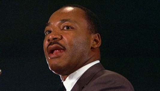 The Rev. Martin Luther King Jr. speaks April 15,1967, at a peace rally in New York City.
