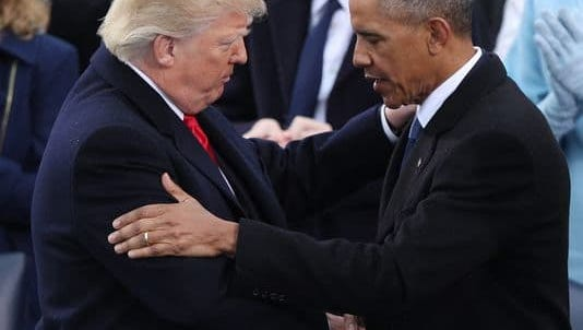 President Trump is embraced by former president Barack Obama after taking the oath of office as the 45th President of the United States in Washington, D.C., Jan. 20.