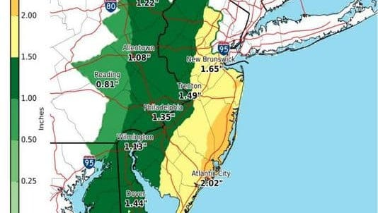 This National Weather Service map shows the rainfall predictions for the area.