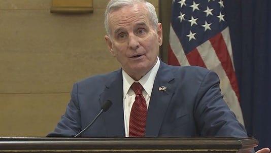 Minnesota Gov. Mark Dayton announces he has prostate cancer.