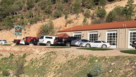 The Copper Mountain Auto Body shop, scene of two violent disturbances in the past year.