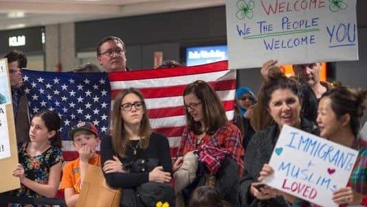 Protesters at Washington Dulles International Airport on Jan. 28.