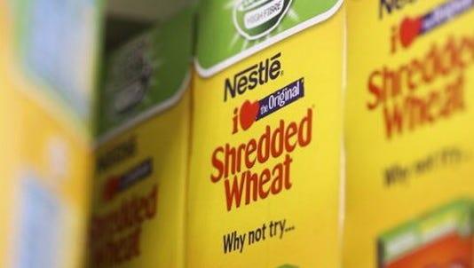 Shredded wheat stock photo