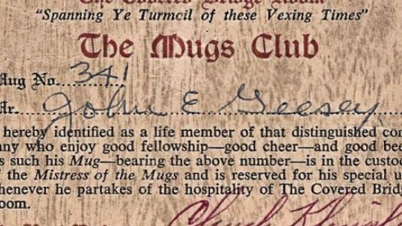 John E. Geesey's club card gave him access to a special mug, numbered 341, at one of the Yorktowne Hotel's restaurants.