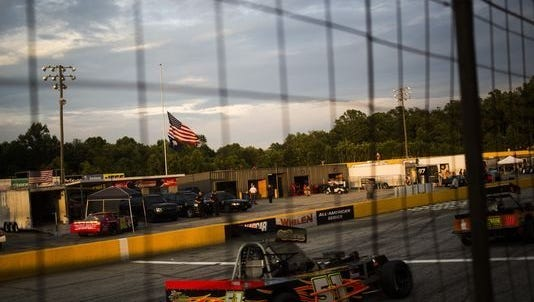 Cars warm up at Anderson Motor Speedway late last season.