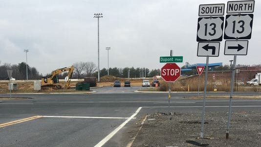 Construction equipment from the U.S. 301 tollway project sits near the intersection of U.S. 13 and Port Penn Road. U.S. 13 will close in the area for the weekend.