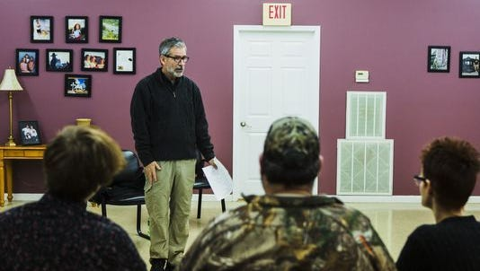 Dr. Daniel Sumrok, a family physician and director of the Center for Addiction Science at the University of Tennessee Health Science Center, talks to a group during a therapy session in McKenzie, Tenn, on Feb. 10, 2017.