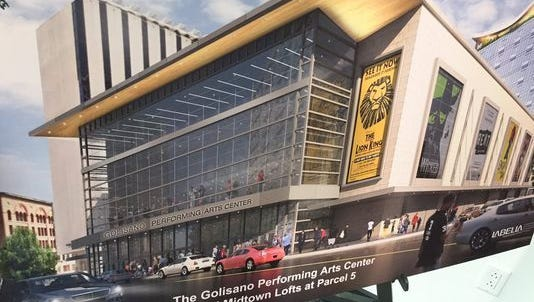 Rendering of the proposed Golisano Performing Arts Center and Midtown Lofts at Parcel 5 in 2017.