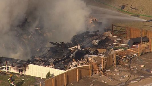 Two people were injured and two died after an explosion and fire leveled a Weld County home on Monday afternoon.