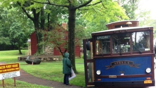 Trolley at Purdy House during Daughters of Liberty's Legacy tour of historic sites in White Plains