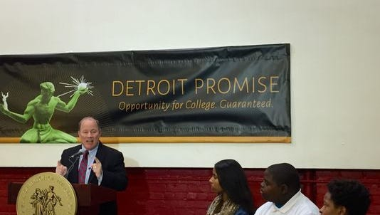 Detroit Mayor Mike Duggan announces the Detroit Promise program that will provide Detroit residents and Detroit high school graduates two years of free community college Tuesday, March 22, 2016 at Youthville on Woodward in Detroit