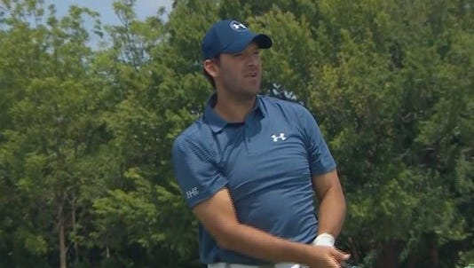 Former Dallas Cowboys quarterback Tony Romo watches his shot during U.S. Open Qualifying on Monday.