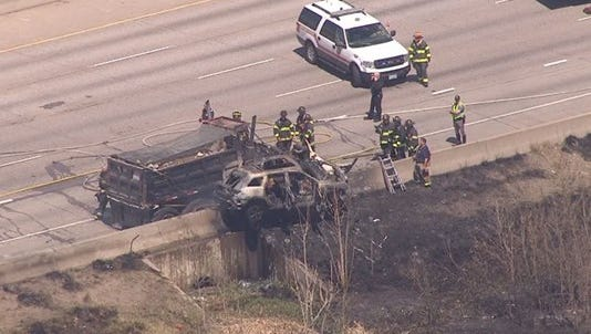A fiery crash on Interstate 25 headed north on Thursday morning killed one person and seriously injured two more, police said.