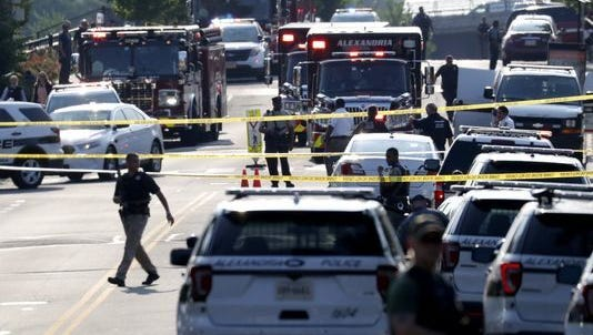 First responders on the scene following a shooting in Alexandria, Virginia, USA, 14 June 2017. The Republican House majority whip Steve Scalise and at least four others have been shot shot at a congressional baseball game practice session, according to media reports.