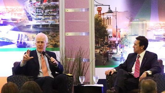 U.S. Sen. John Cornyn, R-Texas, left, talks about NAFTA, border commerce and security with Jon Barela, CEO of the Borderplex Alliance, during the organization's luncheon in May at the Wyndham El Paso Airport Hotel.
