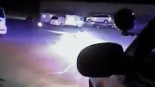 Image from a Muncie Police Department body camera on March 24, 2017, when two officers fired at a moving vehicle.