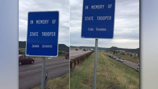 Memorials on I-25 to commemorate Trooper Jaimie Jursevics and Trooper Cody Donahue.