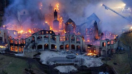 Jeffrey and Maria Decker's mansion at 9645 Cunningham Road in Indian Hill burned down Jan. 10, 2014.