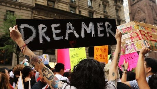 A 'dreamer' rally outside Trump Tower in New York.