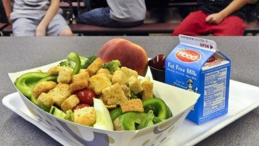 This Sept. 11, 2012, file photo shows a healthy chicken salad school lunch, prepared under federal guidelines, sitting on display at the cafeteria at a middle school in Rotterdam, N.Y.